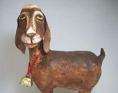 Primitive Paper Mache Folk Art Nubian Goat