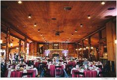 Albert's Lodge at Spruce Mountain Ranch is a beautiful reception venue with a beautiful wood fireplace and bar and can seat up to 250 people