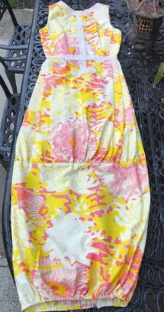 d97b0efb88bd Details about Vintage The Lilly Lilly Pulitzer Dress Long Sleeveless Floral  Cotton 8