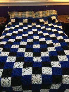 Queen Size Granny Square Crochet Blanket Blue and White image 0 Crochet Ripple, Crochet Bedspread, Crochet Quilt, Crochet Granny, Granny Square Crochet Pattern, Crochet Squares, Crochet Blanket Patterns, Granny Square Blanket, Blue Blanket