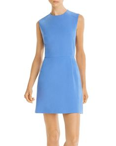 French Connection Whisper Sundae Solid Mini Dress In Chalk Blue French Connection Style, Mod Dress, Fitted Bodice, World Of Fashion, Fit And Flare, Dresses For Work, Clothes For Women, Whisper, Mini
