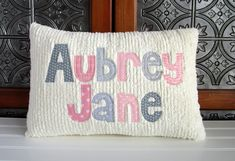 Monogram Pillows, Baby Pillows, Applique Pillows, Pink And Gray Nursery, Baby Room Neutral, Baby Girl Gifts, New Baby Gifts, Applique Letters, Toddler Pillow