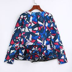 Women's Ruffle Daily Street chic Spring / Fall Jackets Patchwork Lace Slim Sexy Round Neck Long Sleeve Blue 2018 - $18.99