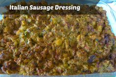 Italian Sausage Dressing - Ripieno di Salsicce is a savory and delicious accompaniment to Thanksgiving turkey but also with pork or chicken any time of year