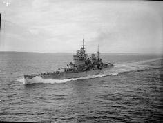 HMS KING GEORGE V underway at speed in Scapa Flow.