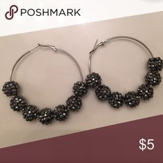 Earrings Large hoop earrings with black glitter beads Jewelry Earrings