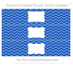 Free Sapphire Blue Chevron Water Bottle Labels