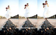 Bride running collage