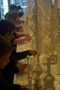Lego workers at Dunedin Public Art Gallery