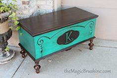 repainted chest furniture in blue and some staining and a stencil by… Chest Furniture, Funky Furniture, Refurbished Furniture, Repurposed Furniture, Furniture Projects, Furniture Makeover, Painted Furniture, Home Furniture, Furniture Refinishing