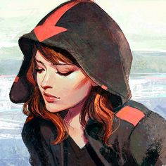 Hood - Beautiful hooded girl digital painting. This style pans more to the 2D style painting while retaining the 3D nature of the portrait.