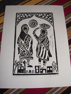 Linogravure noir et blanche 'Filles Omanaises avec dattes'