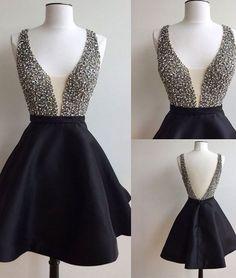 Black v neck sequin short prom dress, cute homecoming dress for teens