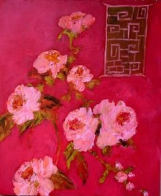 Red Chinoiserie with Roses by femmehesse on Etsy