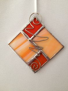 Stained Glass Christmas Ornament: Orange Square by Mama Agee on Etsy, $5.00