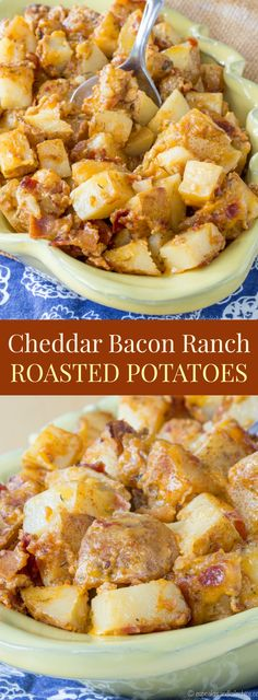 Cheddar Bacon Ranch Roasted Potatoes - an easy side dish recipe, no bottles of dressing or seasoning packets needed!