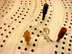 High Quality Cribbage Board, 2,3, or 4 Player, Two Tier, Maple Top/Cherry Bottom, Wooden or Metal Pegs, Laser Engraved, Games, Paul Szewc http://etsy.me/20mgDVE