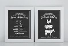SET of 2 Kitchen Prints from 'An Illustrated Guide' Series - 11x14 Prints by letteredandlined on Etsy https://www.etsy.com/listing/195868182/set-of-2-kitchen-prints-from-an