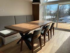 TABLE ST-IRÉNÉE - NOYER - 90'' X 38'' - 2.25'' ÉPAIS #lusine #table #stirenee #noyer #pattex #aciernoirmat Conference Room, Tables, Dining Table, Furniture, Home Decor, Dining Rooms, Matte Black, Drown, Mesas