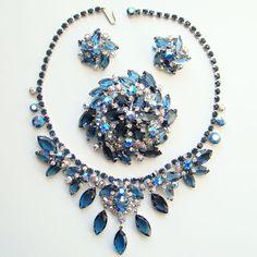 Juliana DeLizza & Elster Brooch Necklace Earrings AB Blue Rhinestone Parure Set