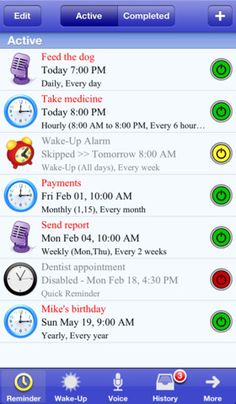 Aida Reminder Lite with Voice Reminders  ($0.00) Aida Reminder lets you create reminders very easily and quickly. Recurring reminders are fully supported, you can set hourly, daily, weekly, monthly and yearly reminders, or even days of the week or month. It also has a wake-up alarm with custom snooze time. Don't miss those important events ever again!