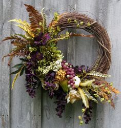 Fall Wreath, Autumn Designer Wreath, Tuscany Décor, Thanksgiving, Harvest, Fall New England, Elegant Holiday Wreath
