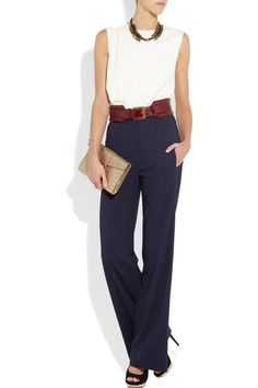 The sleek lines of this getup are hard to resist. Look for a tailored sleeveless blouse and a wide leather belt for a slimming effect, and keep the accessories understated and minimal.    Donna Karan Stretch Wool-Blend Wide-Leg Pants, $995, available at Net-a-Porter.