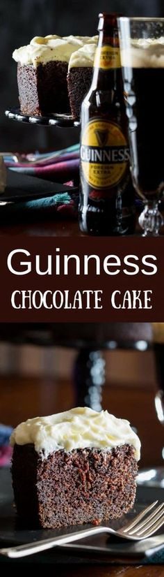 Guinness Chocolate Cake - A lightly sweet and moist chocolate cake, with wonderfully interesting spicy notes from the stout Guinness Foreign Extra Beer. Perfect for St. Patrick's Day or for the chocolate lover in your home!