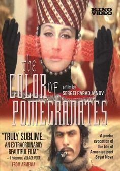 """The Color of Pomegranates (Red Pomegranate/Sayat Nova) -- """"Eighteenth-century Armenian poet Sayat Nova parlayed his influence as a performer in Heraclius II's court to foster peace between Russia and its neighbors. This biopic follows his life from humble carpet weaver to archbishop to national treasure. Director Sergei Parajanov and star Sofiko Chiaureli used the poems of Nova ... as inspiration for this lyrical film, banned in the Soviet Union for its nationalist themes."""""""