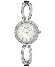 Bulova Women's Crystal Accent Stainless Steel Bangle Bracelet Watch 26mm 96L223 - Silver