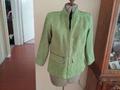 Susan Graver Style   SZ XS Green  suede cloth  jacket  w/ 2 pockets   #SusanGraverstyle #blazerjacket #youdecide