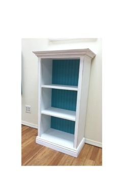 3 shelf white Bookcase with molding and bead board by SiGAHdesigns, $225.00