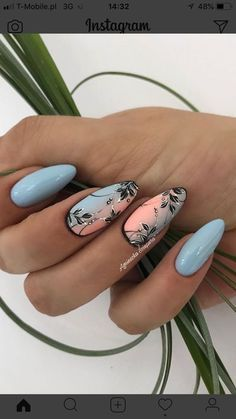 Summer Acrylic Nails, Best Acrylic Nails, Spring Nails, Diy Ongles, Feather Nails, Manicure E Pedicure, Manicure Ideas, Pretty Nail Art, Nagel Gel