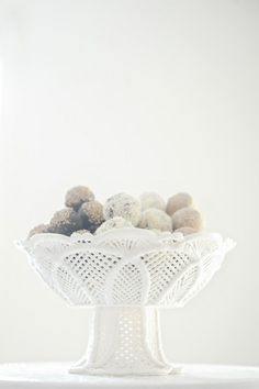 Milk glass bowl filled with dusted cake balls Grocery Basket, Winter Things, Romantic Shabby Chic, Winter Weddings, Wedding Desserts, Glass Collection, Milk Glass, Pedestal, Red Roses