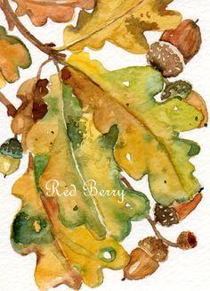 Acorn Art original ACEO watercolor painting  Acorn painting Leaf art on Etsy, $24.00