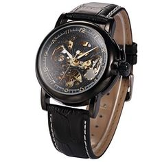 KS Men Luxury Skeleton Automatic Mechanical Black Leather Analog Sport Watch KS036  #Analog #Black #KS #KS036 #Leather #Luxury #Sport Watch MonitorWatches.com