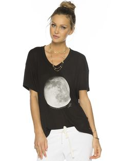 Love You To The Moon And Farther Black Mia V. Fashion Top