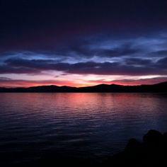 Beautiful sunset over Lake Tahoe ♥ Pastel Sunset, Lake Tahoe, Beautiful Sunset, Sunrise, Bucket, Moon, Sky, Spaces, Colors