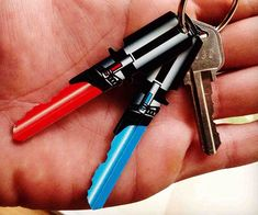 Lock your home's door with the signature weapon of the Jedi Order with the Star Wars lightsaber house keys. These geeky keys forgo the standard design in lieu of a fully detailed lightsaber that comes available in either a stunning red or blue model.