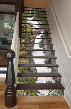 Maligne River Stair 66 Risers Staircase Stairway Stairs Risers Stickers Mural Photo Mural Vinyl Decal Wallpaper Removable - coole Wohnideen - Pictures on Wall ideas