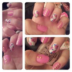 Pink & Gold Flower Mani #nails