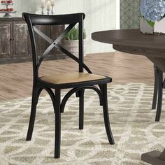 Best Seller Gayla Solid Wood Cross Back Side Dining Chair Laurel Foundry Modern Farmhouse online - Favoritetopbrands Windsor Dining Chairs, Vintage Dining Chairs, Antique Dining Tables, Solid Wood Dining Chairs, Upholstered Dining Chairs, Dining Chair Set, Cross Back Dining Chairs, Dining Sets, Round Dining
