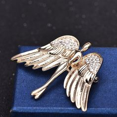 OUDUO Women's Artificial Crystal Angel Wing Brooch Pin Jewelry Gold -- Visit the image link more details. (This is an affiliate link) #NiceJewelry