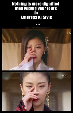 She wipes them away like that when she realizes that she no longer can grieve for her past. but when she's currently grieving. It's the most heartbreaking thing in the planet. Korean Drama Quotes, Korean Drama Movies, Korean Actors, Korean Dramas, K Meme, Empress Ki, Drama Funny, Korean Language Learning, Ha Ji Won