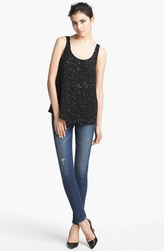Date Night- Haute Hippie Tank & Current/Elliott Skinny Jeans  available at #Nordstrom
