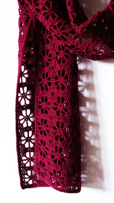 Crochet Scarf Pattern - Cherries Scarf - filet crochet wrap, crochet flower scarf, lace lacy wrap - Crochet Pattern PDF This is a listing for crochet pattern, if your wish is for purchasing the finished item you are wel Crochet Flower Scarf, Crochet Shawls And Wraps, Knitted Flowers, Crochet Poncho, Crochet Scarves, Crochet Clothes, Crochet Hats, One Skein Crochet, Filet Crochet