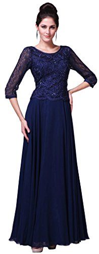 Meier Womens Half Sleeve Lace Rhinestone Mother of Bride Evening Party Dress Navy M ** Click image to review more details.