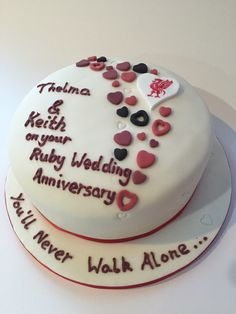 Wedding Anniversary cake For two Liverpool fans