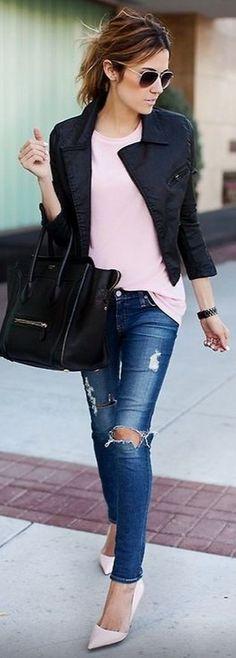 Pink, Black and Denim #pink