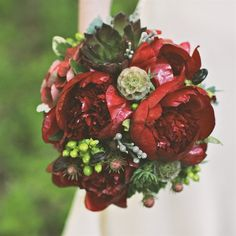 Succulent and Rich Red Peony Bridal Bouquet with Scabiosa Pods, Hypericum Berries, Leucadendron, Hydrangeas and Hypericum Berries - the knot